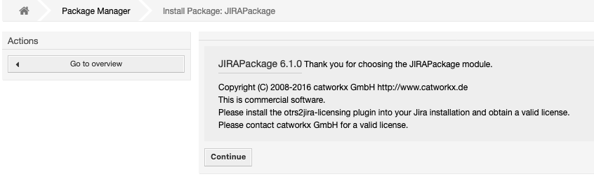 Install the OTRS Package - Teamworkx OTRS Integration for Jira